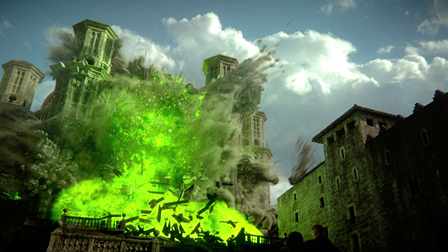 La explosion del sept Baelor, en Game of Thrones.